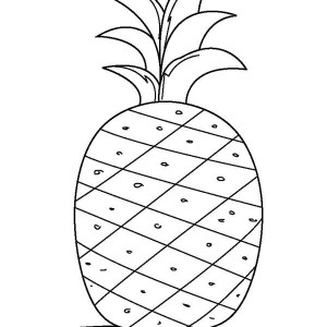 A Kids Drawing Of Pineapple Coloring Page