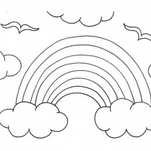 A Kids Drawing Of Rainbow Over The Clouds Coloring Page
