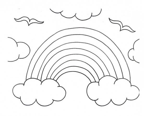 A Kids Drawing Of Rainbow Over The Clouds Coloring Page Download