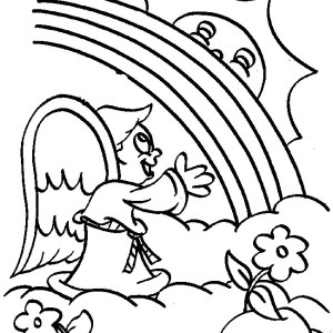 A Little Angel Cheering The Rainbow Over The Cloud Coloring Page