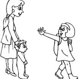 A Little Girl Waving To Her Mother And Brother On First Day Of School Coloring Page