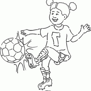 A Little Girl On Soccer Jersey Making A Shoot Coloring Page