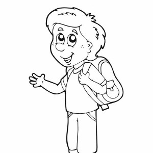 A Nice Boy Is Ready For The First Day Of School Coloring Page