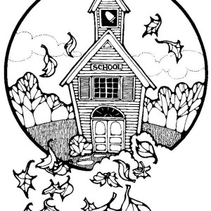 A Nice School In The Countryside On First Day Of School Coloring Page