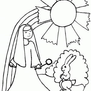 A Nun A Rabbit And A Rainbow Coloring Page