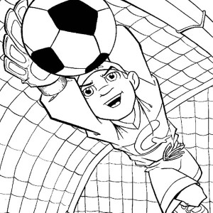 A Perfect Catch From The Goalkeeper During Soccer Game Coloring Page