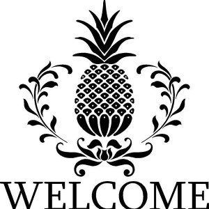 A Pineapple Welcoming Logo Coloring Page
