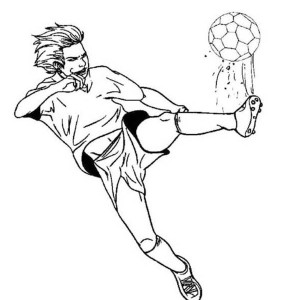 A Profesional Soccer Player Doing A Hard Kick Coloring Page