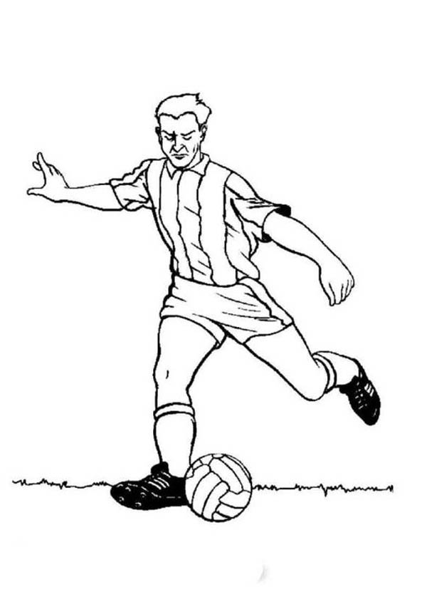 A Profesional Soccer Player Doing A Long Pass Coloring Page