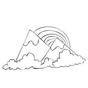 A Scenic Mountain View With A Rainbow Coloring Page