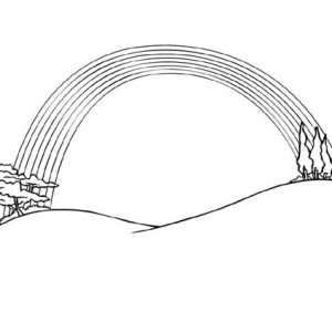 A Scenin View Of Rainbow Between Two Hills Coloring Page