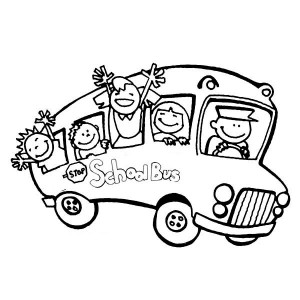 A School Bus Full Of Happy Student On First Day Of School Coloring Page