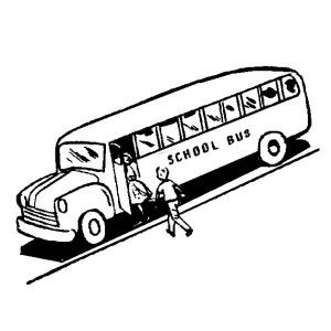 A School Bus Waiting The Students On The First Day Of School Coloring Page