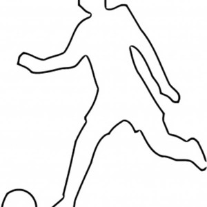 A Silhouette Of A Soccer Player Kicking The Ball Coloring Page