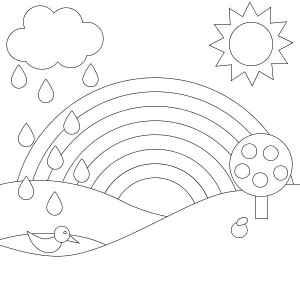 A Simple Lineart Of Rainbow And Panoramic View Coloring Page