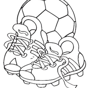 A Soccer Ball And Pair Of Soccer Cleats Coloring Page