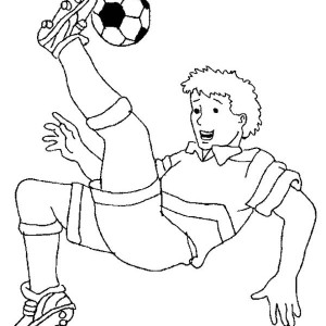 A Soccer Player Doing A Bicycle Kick Coloring Page