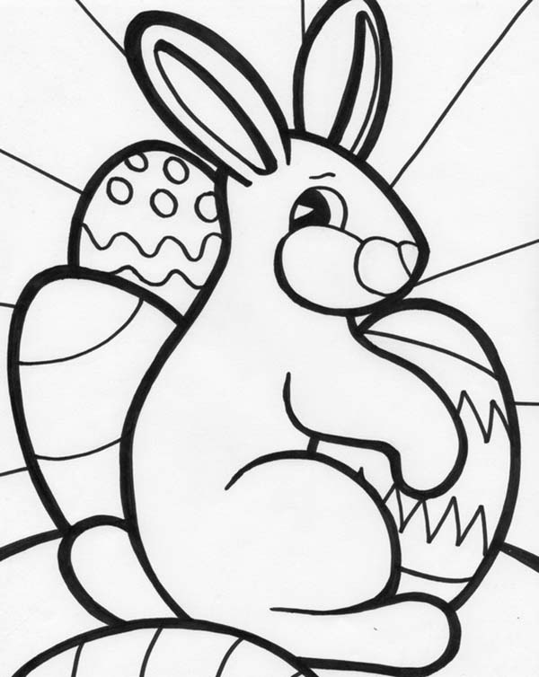 A Sweet Bunny Decoration For Easter Coloring Page ...