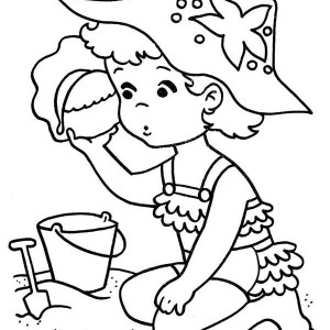 A Sweet Little Girl Playing With Seashell On The Beach Coloring Page