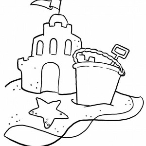 A Typical Beach Sand Castle And A Bucket Coloring Page