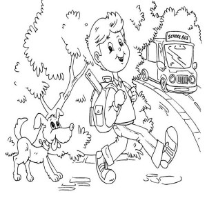 A Young Boy And His Dog On The First Day Of School Coloring Page