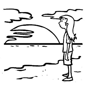 A Young Teenage Girl Waiting For Sunset On The Beach Coloring Page