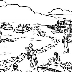 All The Happy Activities On Malibu Beach Coloring Page