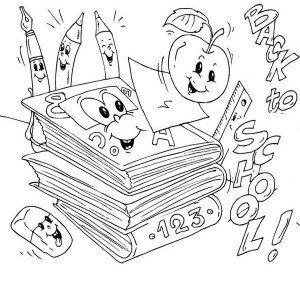 All The School Sets Is Very Happy For First Day Of School Coloring Page