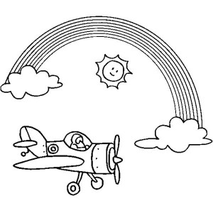 An Airplane Flying Over The Sunny Rainbow Coloring Page
