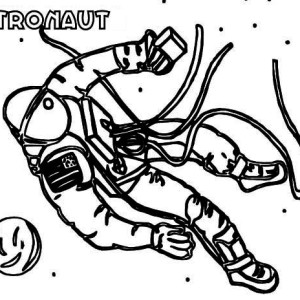 An Astronaut Doing A Space Walking Coloring Page