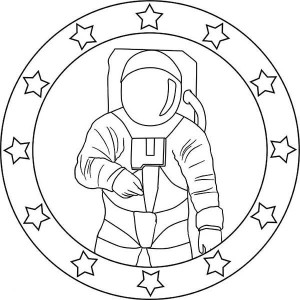 An Astronaut Emblem For A Mission Coloring Page