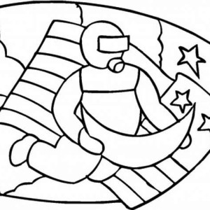 An Astronaut Emblem On The Apollo 11 Mission Coloring Page