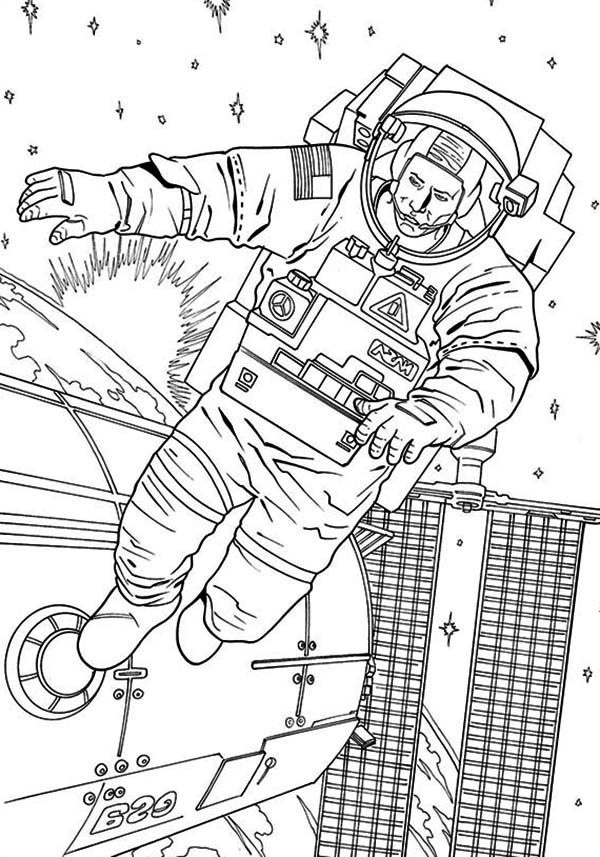 An Astronaut Floating Outside The Space Station Coloring