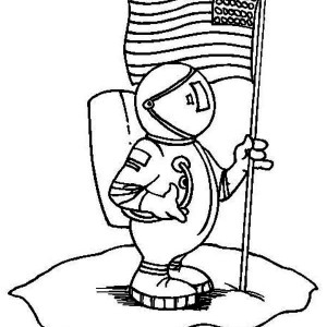 An Astronaut Holding USA Flag On The Moon Coloring Page