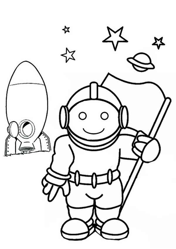 astronaut grabbing a star coloring page free printable - 600×850