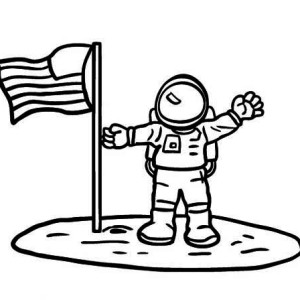 An Astronaut Put American Flag On The Moon Soil Coloring Page