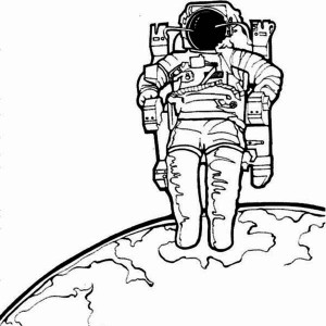An Astronaut And His Space Chair On The Earth Orbit Coloring Page