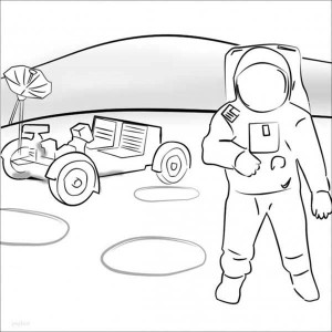 An Astronaut And A Mooncraft At The Background Coloring Page