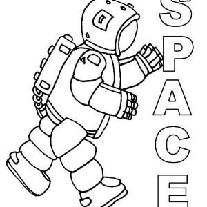 An Astronaut In Complete Spacesuit Coloring Page