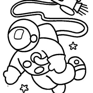 An Astronaut In The Moon Orbit Coloring Page
