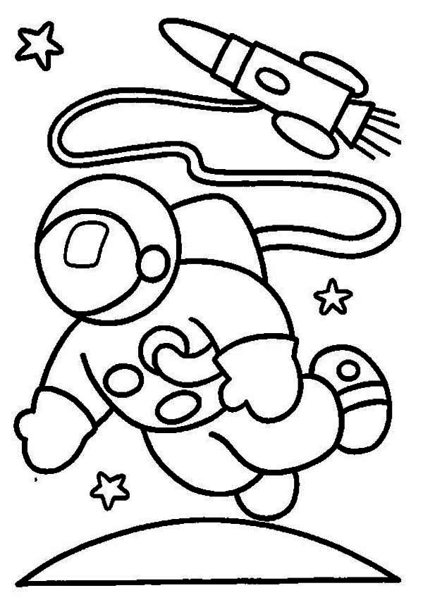 An Astronaut In The Moon Orbit Coloring Page Download Print