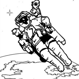 An Astronaut With His Space Chair In The Orbit Coloring Page