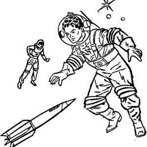 An Imagination Of Future Astronaut From The 70s Coloring Page