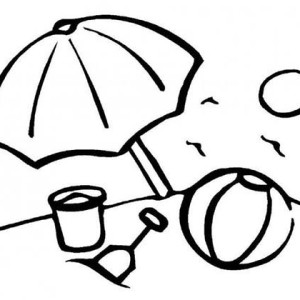 Beach Umbrella And Bunch Of Beach Toy Sets Coloring Page