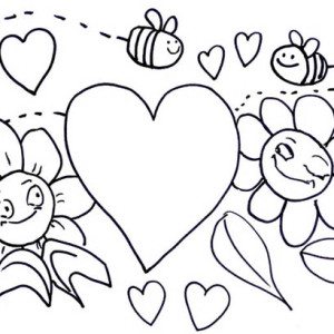 Bumblebee Illustration For Valentines Day Coloring Page