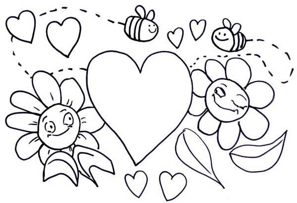 Bumblebee Illustration For Valentines Day Coloring Page Download