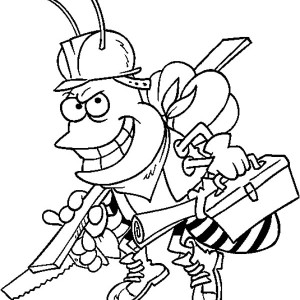 Bumblebee As Carpenter Coloring Page