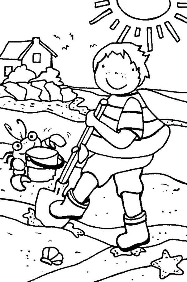 Cleaning The Beach Line During Summer Holiday Coloring ...
