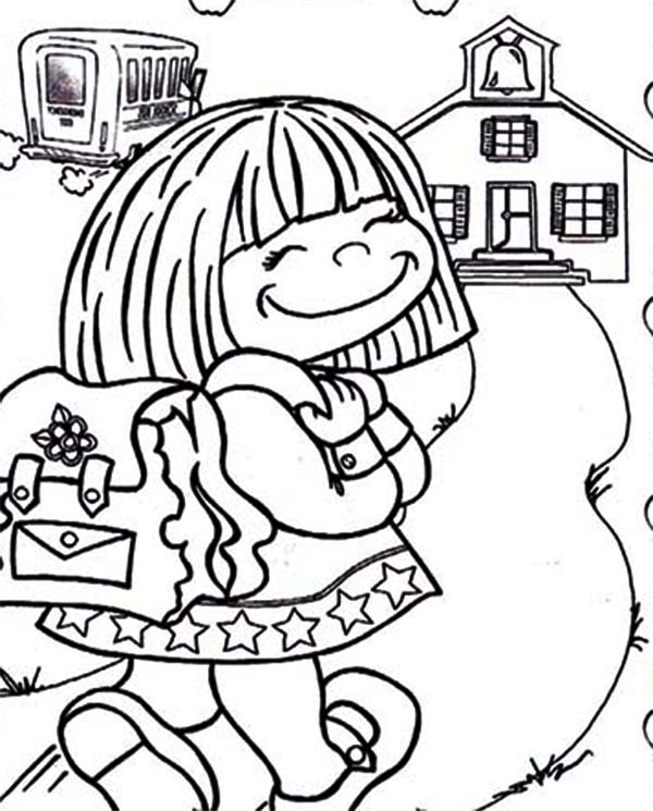 - Cute Little Girl On Her First Day Of School Coloring Page - Download &  Print Online Coloring Pages For Free Color Nimbus