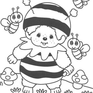 Cute Little Kid In Bumblebee Custome Coloring Page